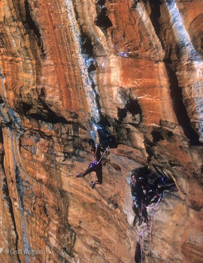 Geoff Weigand, Rob Lebreton and Dave Filan, 2nd Ascent Serpentine 5.13, Taipan Wall, Grampians
