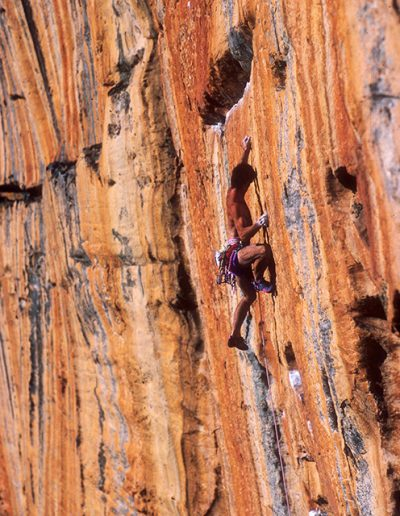 Geoff Weigand in the crux, 2nd Ascent Serpentine 5.13, Taipan Wall, Grampians